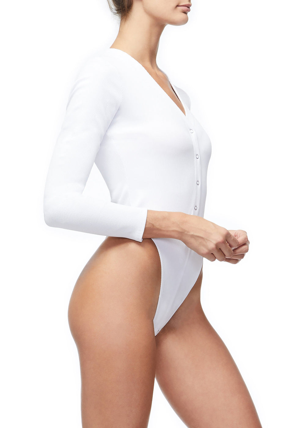 Good American The Ribbed Henley Bodysuit | Ivory001