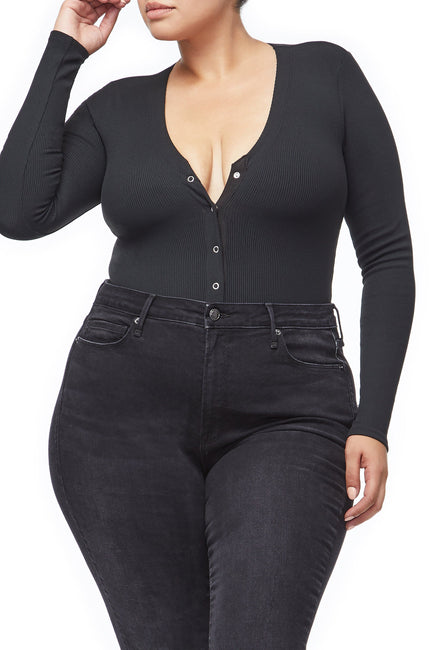 Good American The Ribbed Henley Bodysuit | Black001
