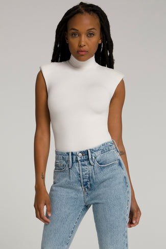 MOCK NECK POWER BODY | IVORY002