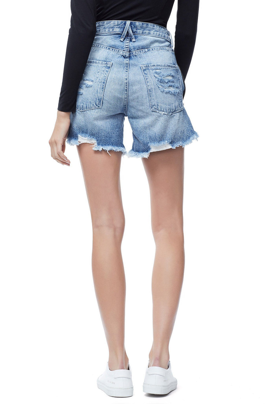 Good American Ripped Exposed Zip Bombshell Short Blue165