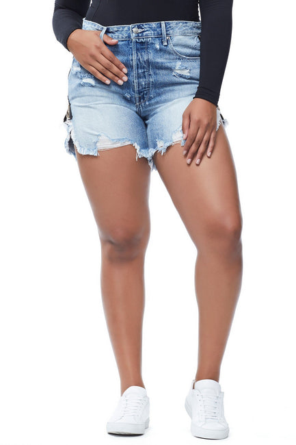 THE EXPOSED ZIP BOMBSHELL SHORT | BLUE165