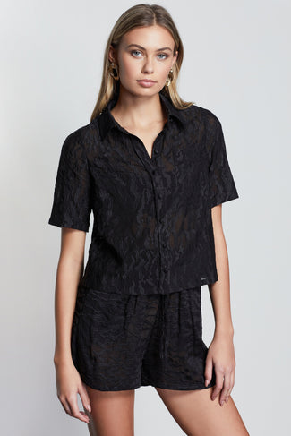 LUSH EMBROIDERED BUTTON UP | BLACK001
