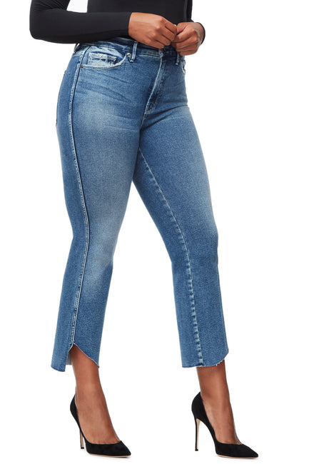 Good American Super High Waisted Cascade Hem Blue264 Jeans