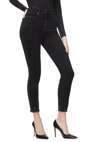GOOD CURVE SKINNY CROP CHEWED HEM | BLACK054