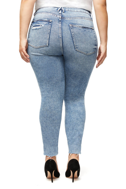 GOOD CURVE SKINNY RAW EDGE | BLUE330