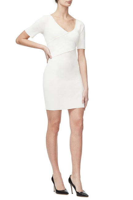 THE CRISS CROSS KNIT DRESS | WHITE001