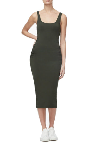 THE RUCHED MIDI DRESS | OLIVE002