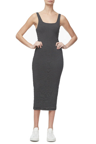 THE SQUARE NECK DRESS | STRIPE001