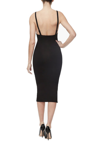 THE SCOOP BACK MIDI DRESS | BLACK001