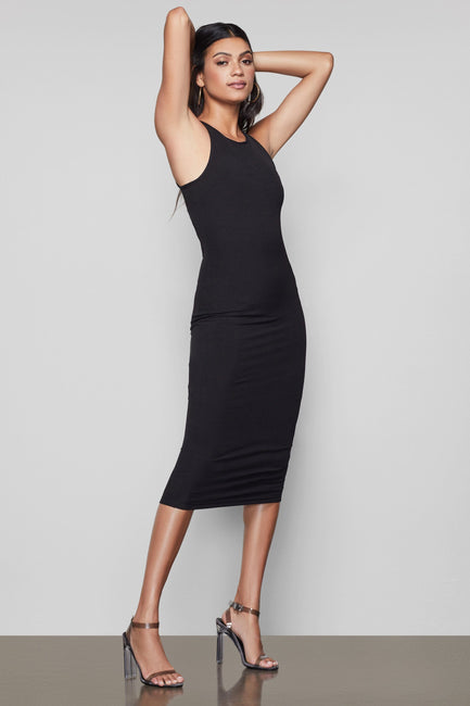 THE RIBBED MIDI DRESS | BLACK001