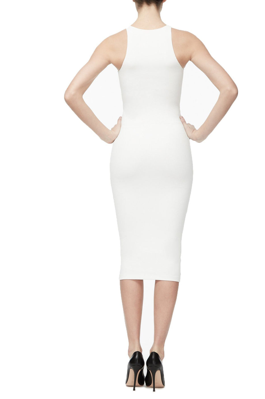 THE RIBBED MIDI DRESS | WHITE001