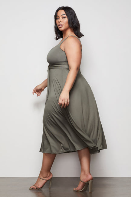 THE BELTED SWING TANK DRESS | SAGE001