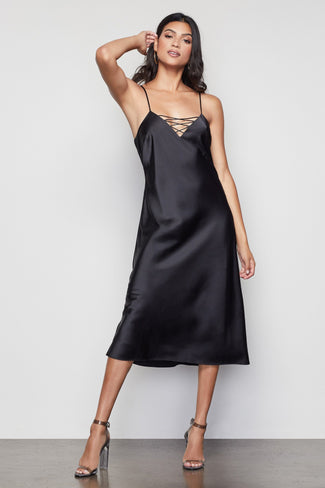 THE SATIN MIDI DRESS | BLACK001