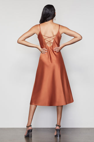 THE SATIN MIDI DRESS | COPPER001