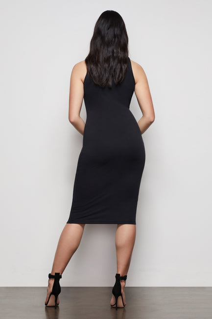THE BODY SCULPTED MIDI DRESS | BLACK001