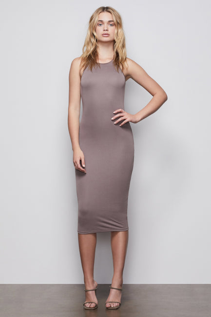THE BODY SCULPTED MIDI DRESS | LATTE001