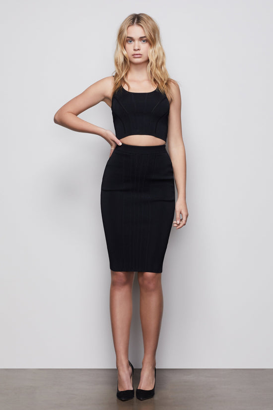 THE CONTOURED MIDI SKIRT | BLACK001