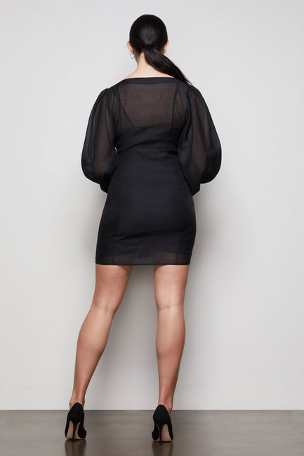 THE ORGANZA MINI DRESS | BLACK001
