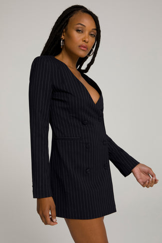 BOSS BLAZER DRESS | PINSTRIPE001