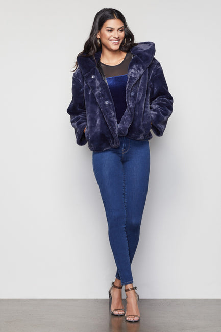 THE LIVING LAVISH FAUX fur jacket | NAVY001