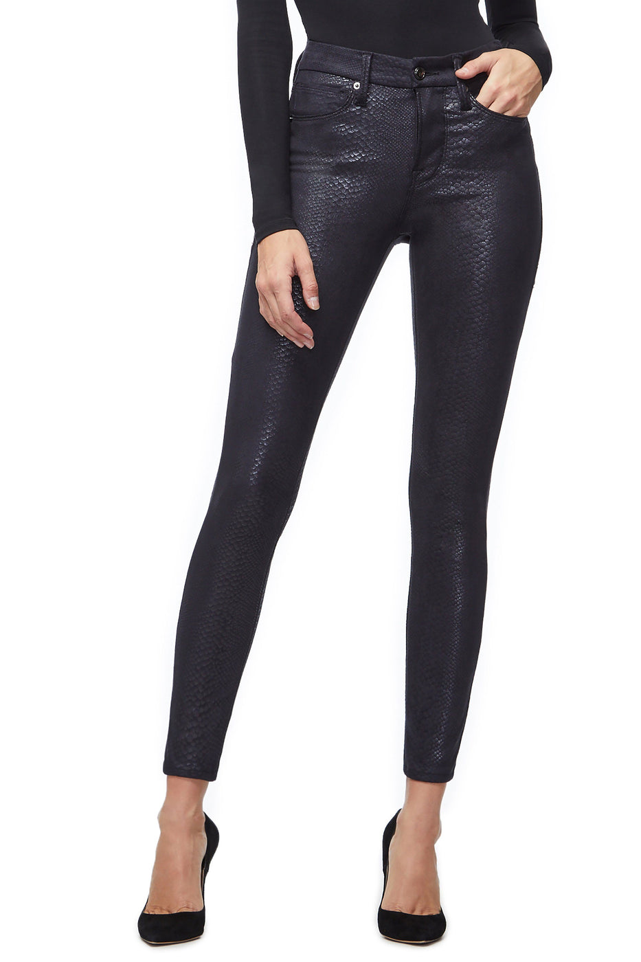 Good American High Waisted Snakeskin Black041 Jeans