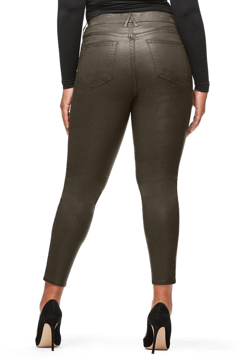 Good American High Waisted Waxed Olive004 Jeans
