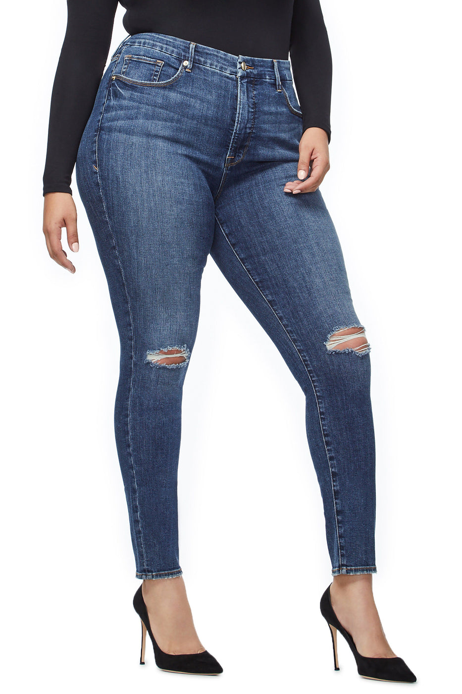Good American Ripped Blue208 Jeans