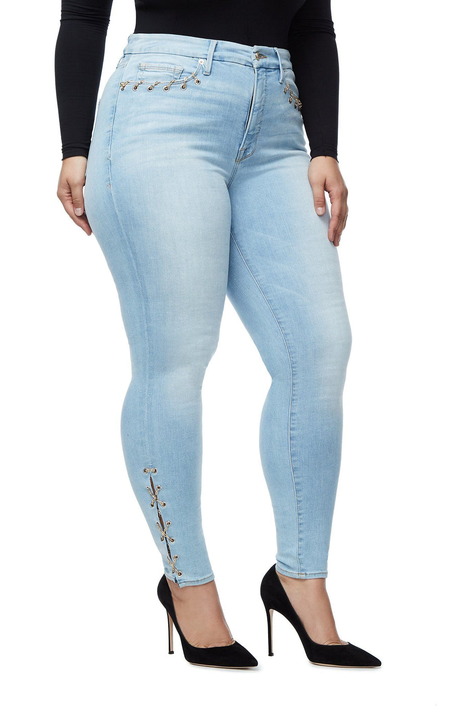 Good American High Waisted Chain Lace Up Blue112 Jeans