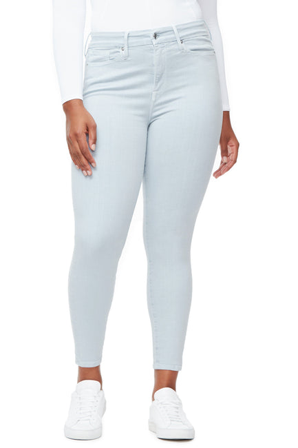 Good American High Waisted Crop Baby Blue002 Jeans