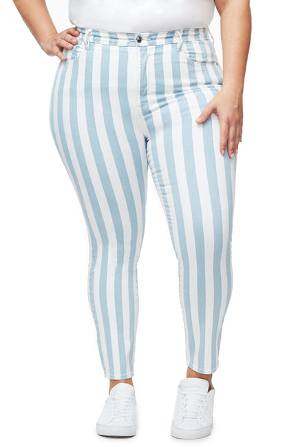 Good American High Waisted Crop Stripe Stripe003 Jeans