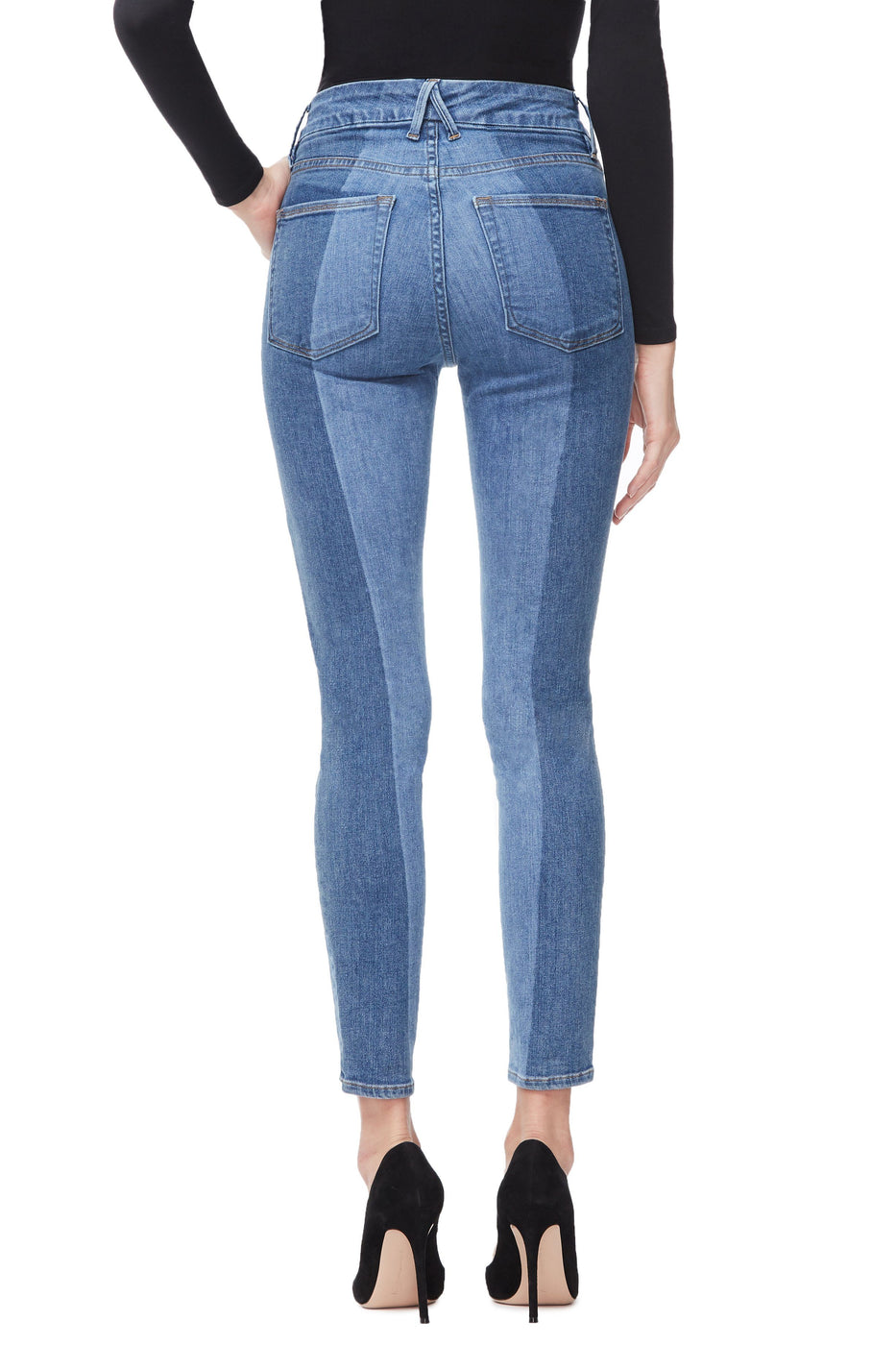 Good American High Waisted Crop Laser Cut Blue243 Jeans