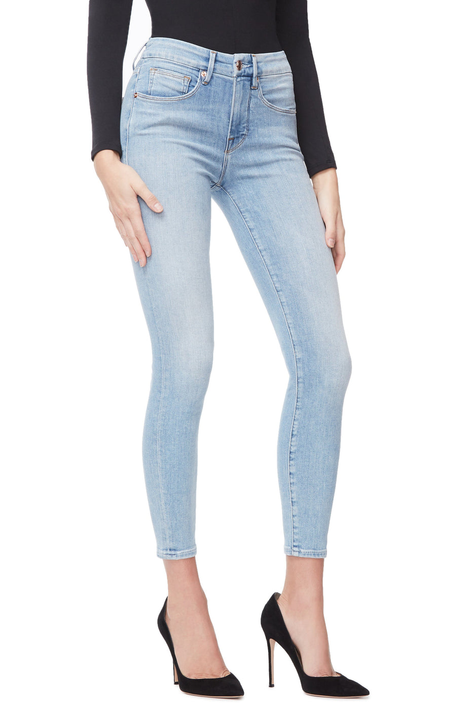 9257014475aa4 Good American High Waisted Crop Blue248 Jeans