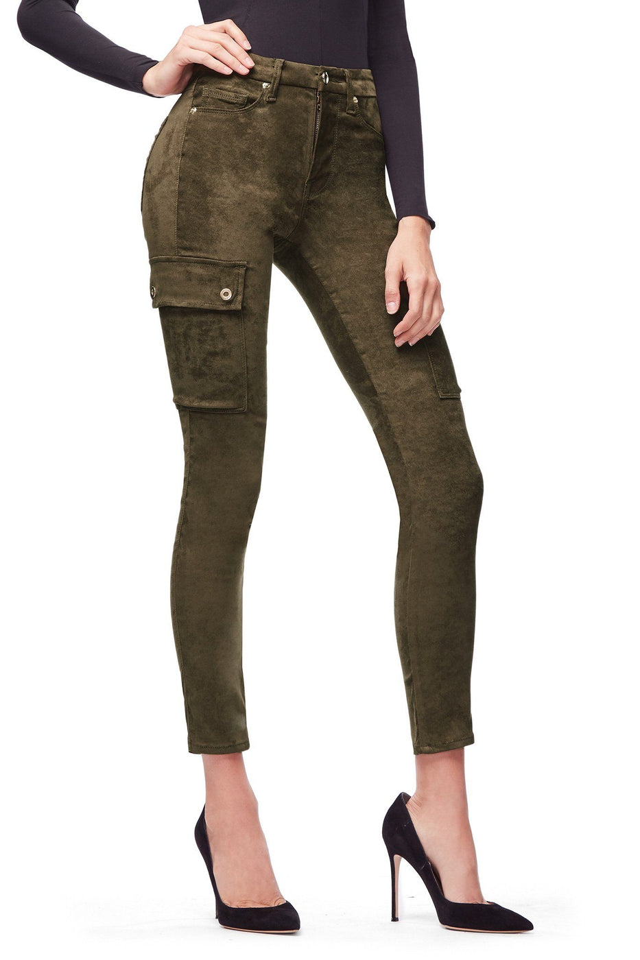 Good American High Waisted Crop Suede-Like Olive002 Jeans