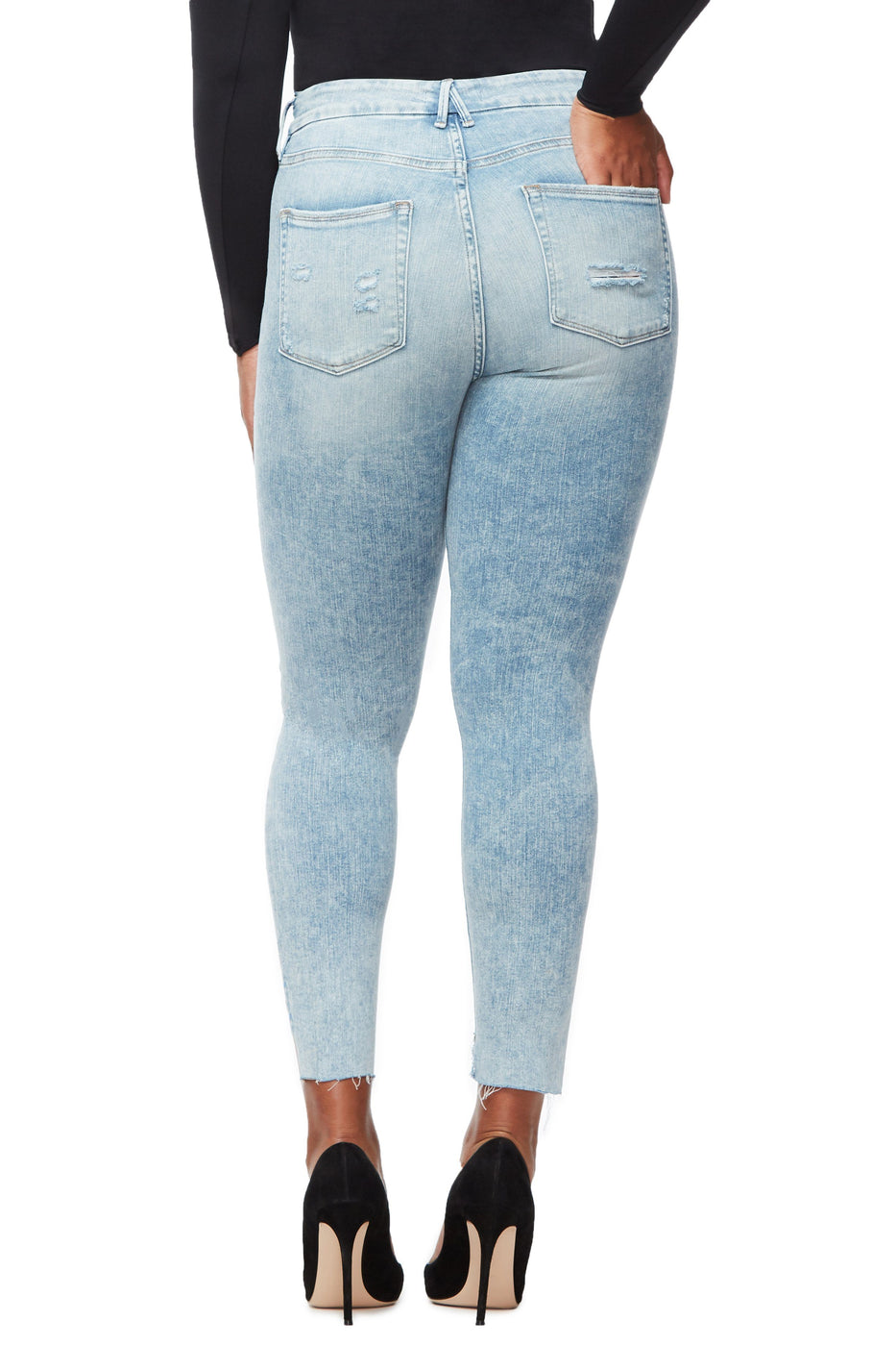 GOOD LEGS CROP RAW STAGGER | BLUE234