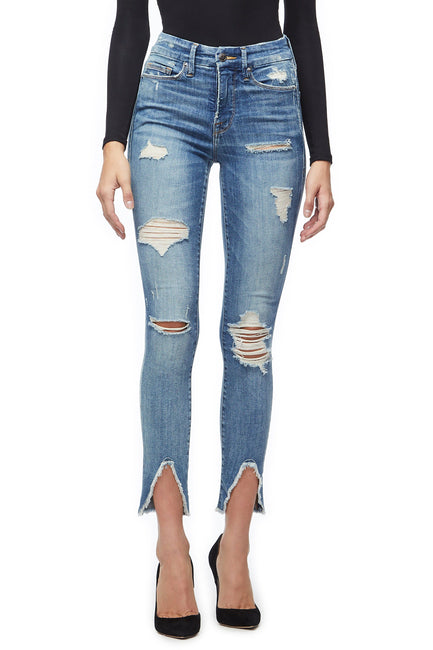 Good American Ripped Fray Front Triangle Blue218 Jeans