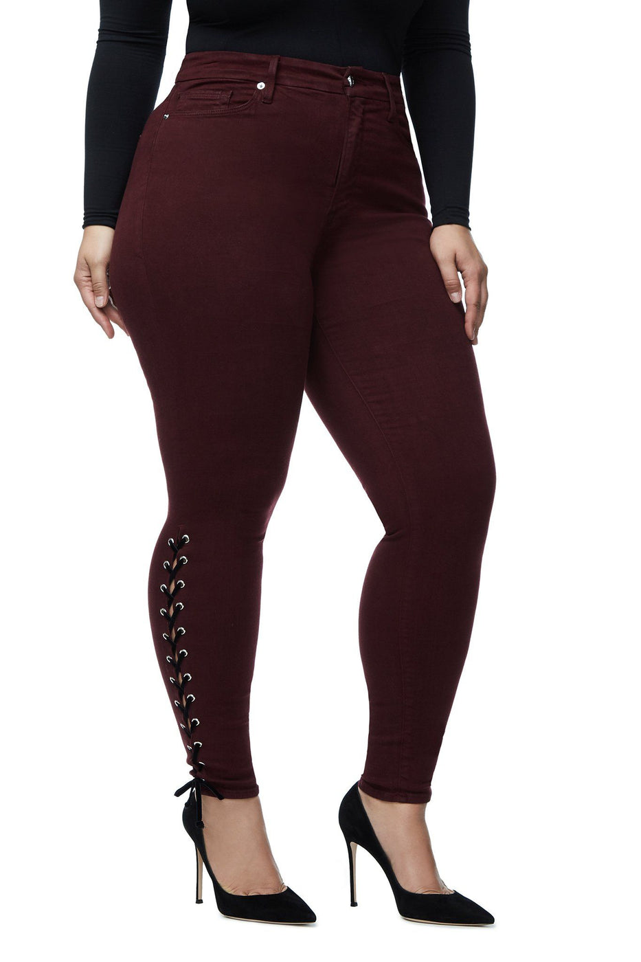 Good American High Waisted Lace Up Burgundy001 Jeans