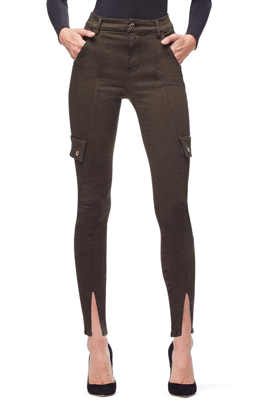 Good American High Waisted Cargo Olive003 Jeans