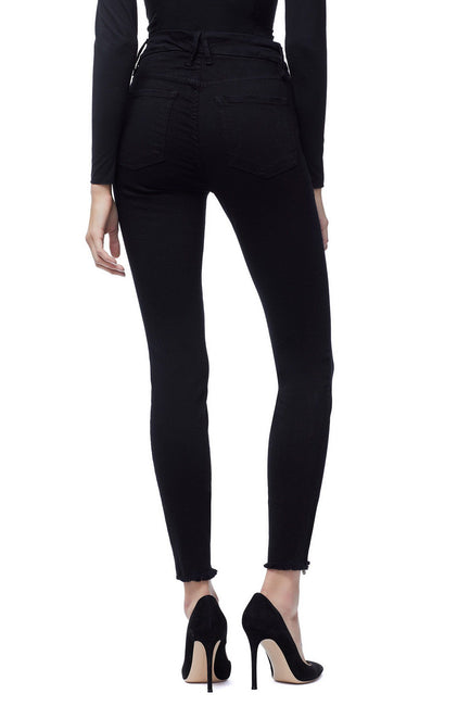 Good American High Waisted Front Zip Black001 Jeans