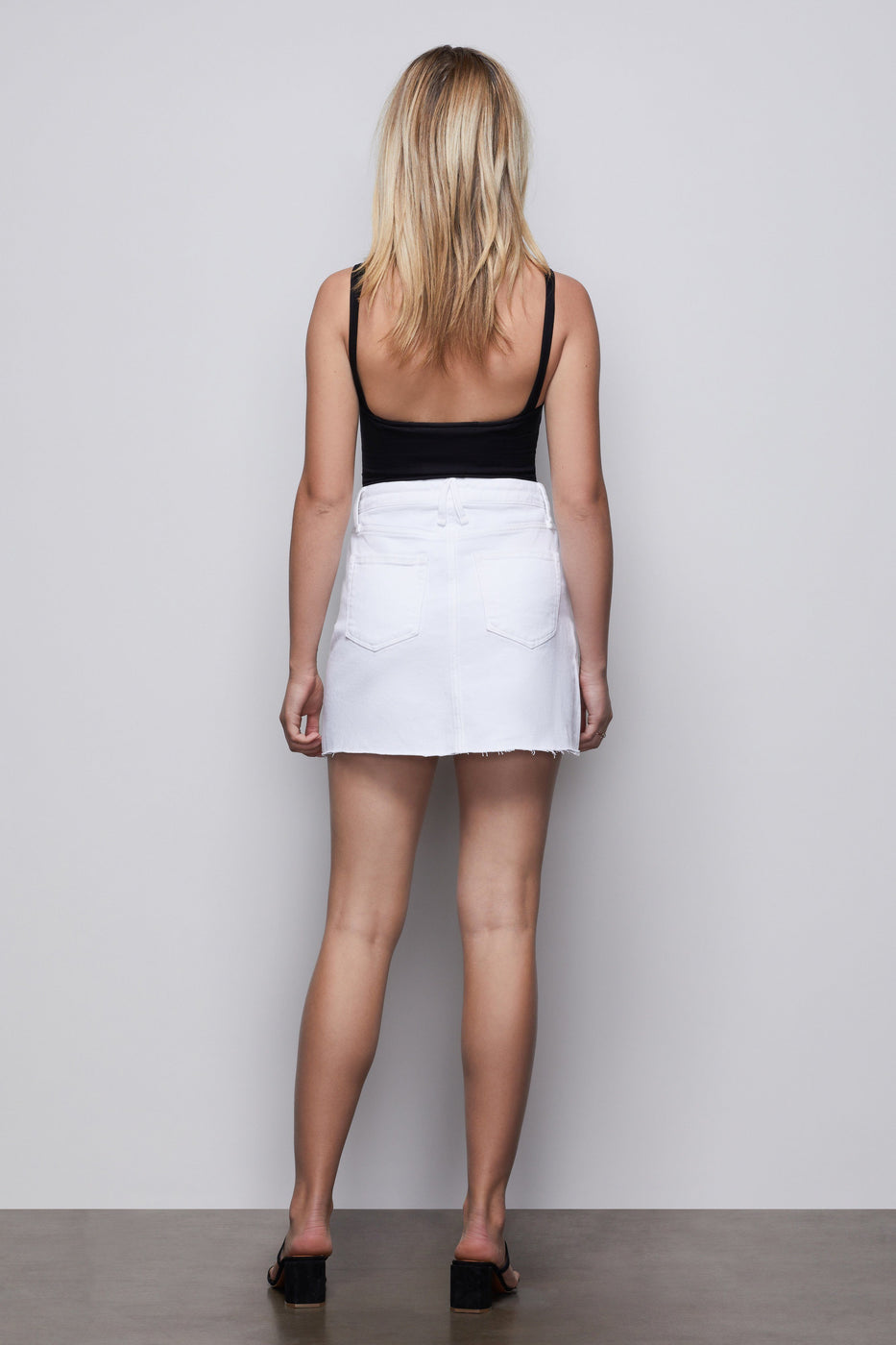 MINI SKIRT EXPOSED ZIPPER | WHITE001