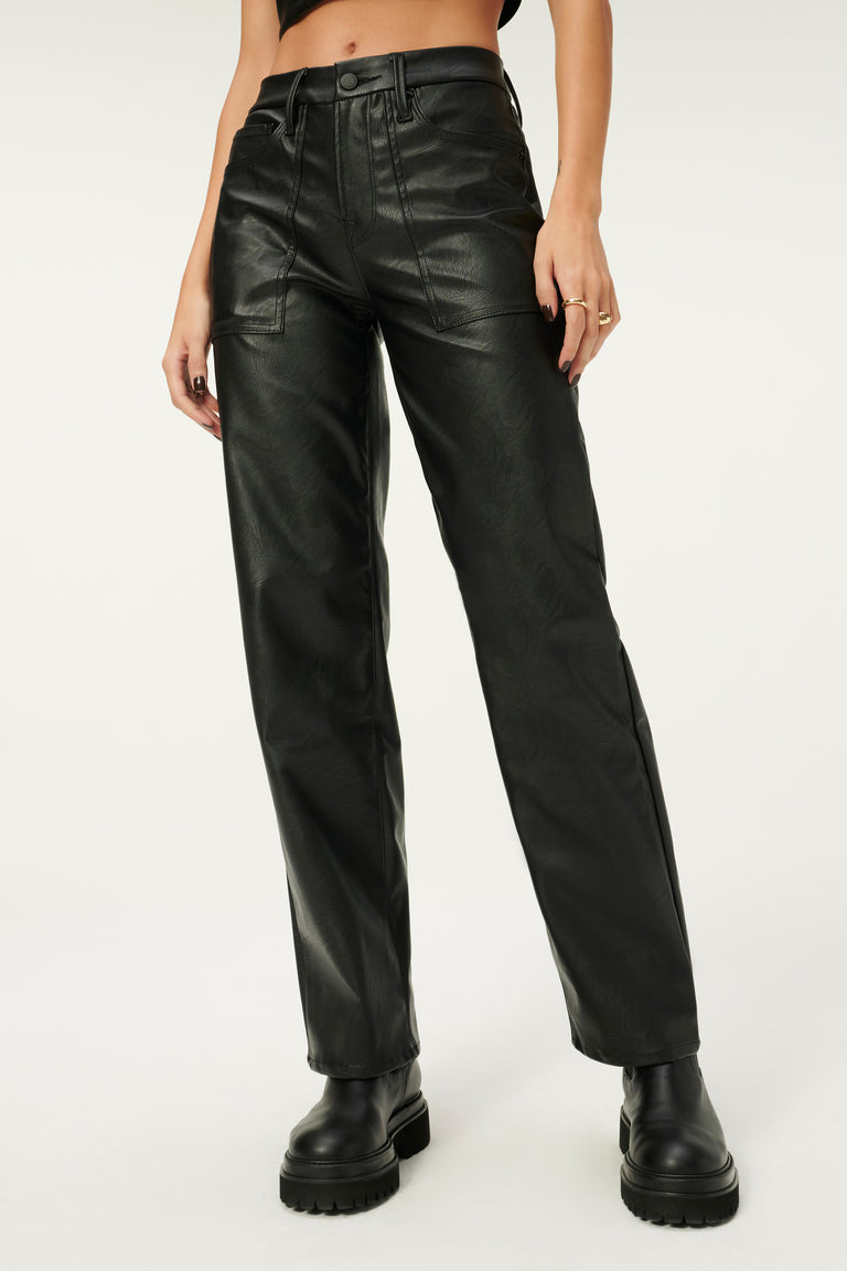 Good American BETTER THAN LEATHER GOOD '90S UTILITY PANTS