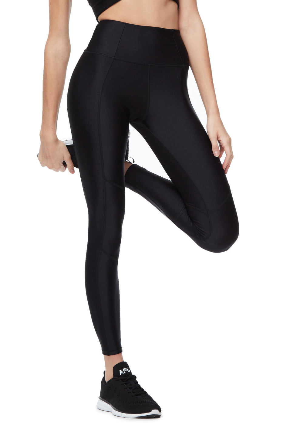 Good American High Waisted Core Strength Gloss Legging Black003