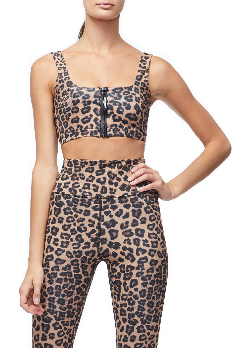 Good American The Zip-Up Sports Bra | Leopard001