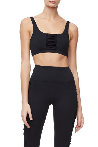 THE RUCHED SPORTS BRA | BLACK001