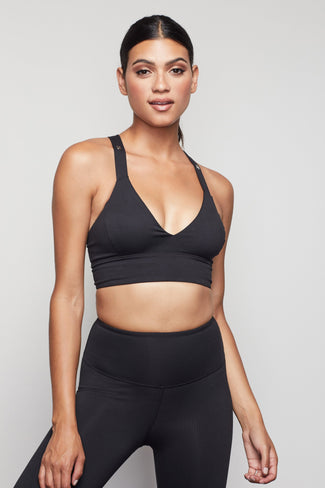 PEEPIN' PLUNGE SPORTS BRA | BLACK001