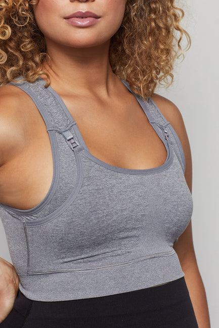 MATERNITY SEAMLESS NURSING BRA | HEATHER GREY001