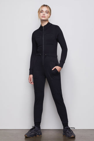 THE GOOD FLEECE COZY JUMPSUIT | BLACK001