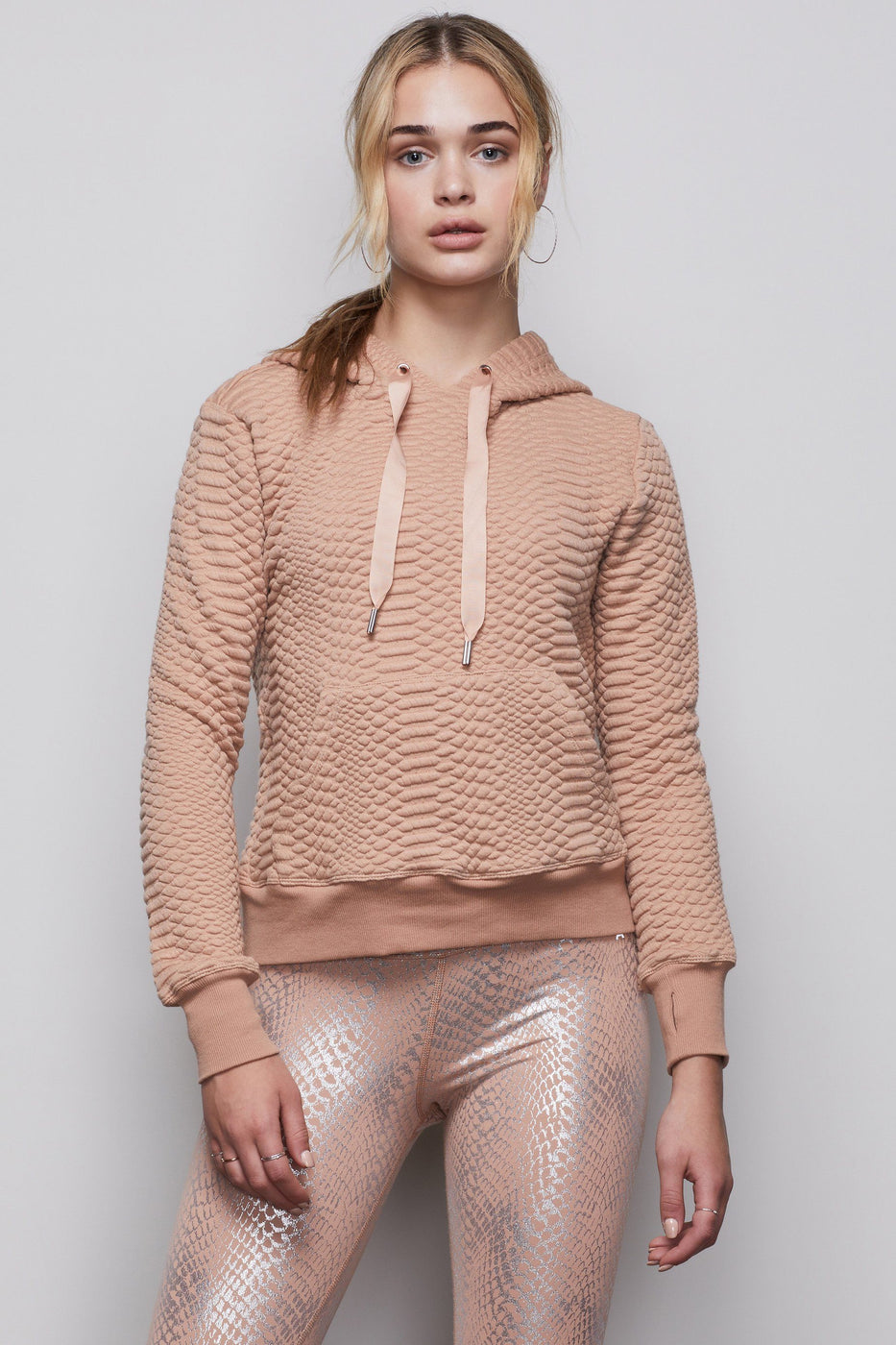 THE QUILTED SNAKE HOODIE | ROSE GOLD001
