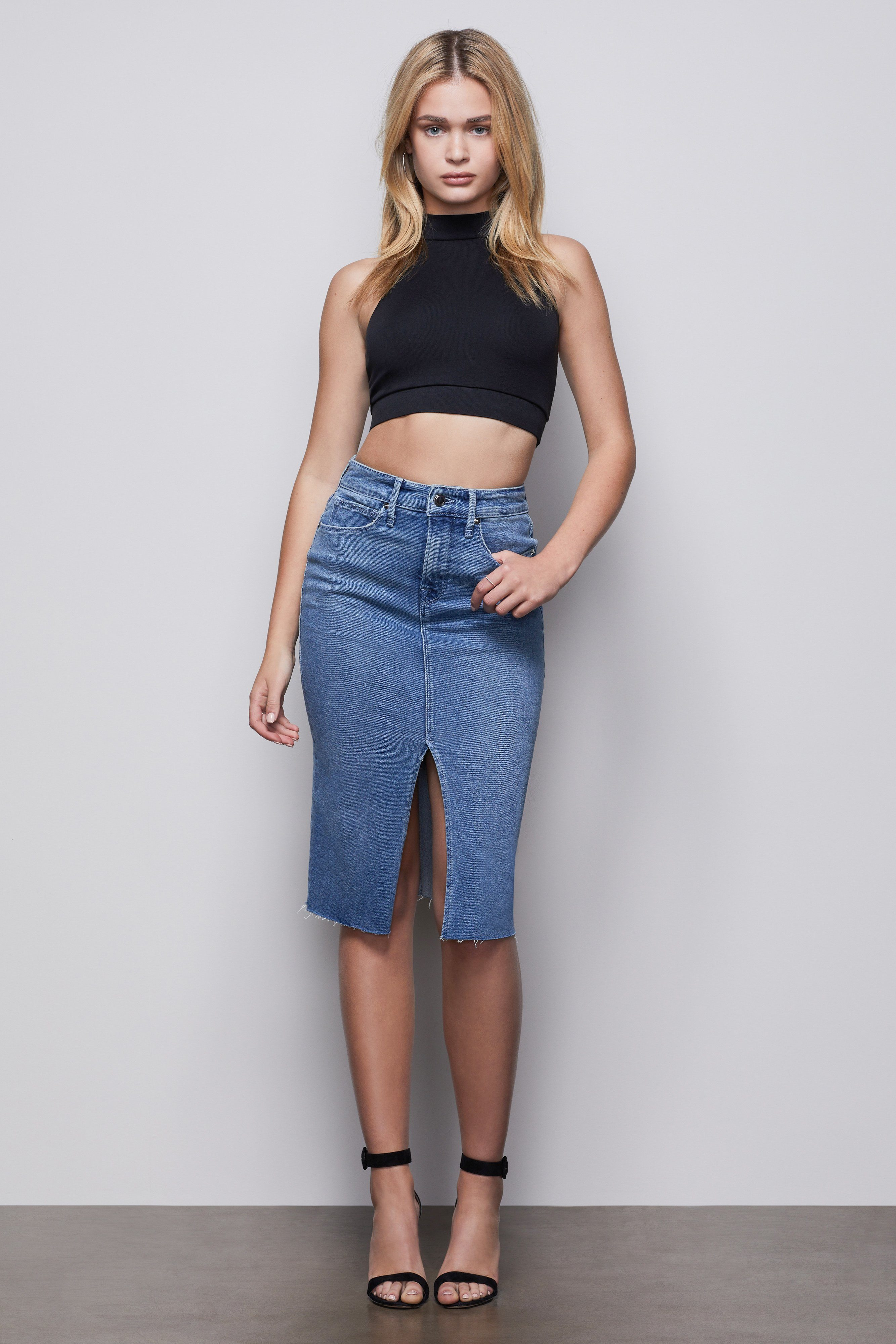 pencil skirt with slit blue420 good american