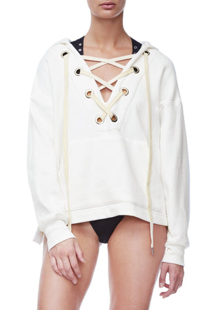 THE LACE UP HOODIE | WHITE001