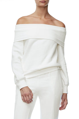 THE COLD SHOULDER SWEATER | WHITE001
